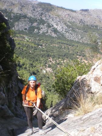 Pilar en el primer descenso
