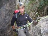 Don Gabriel en el primer descenso.