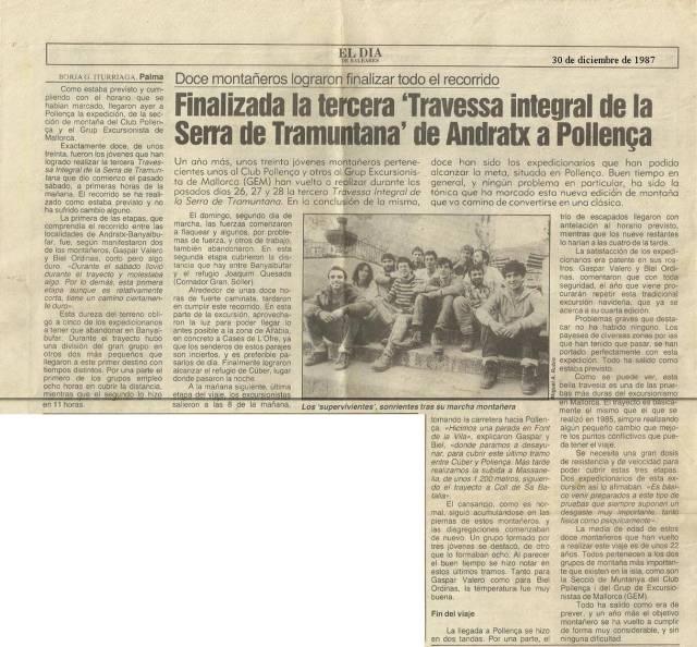 1987 · 3ª Travesa Andratx-Pollença. BTTersMallorca