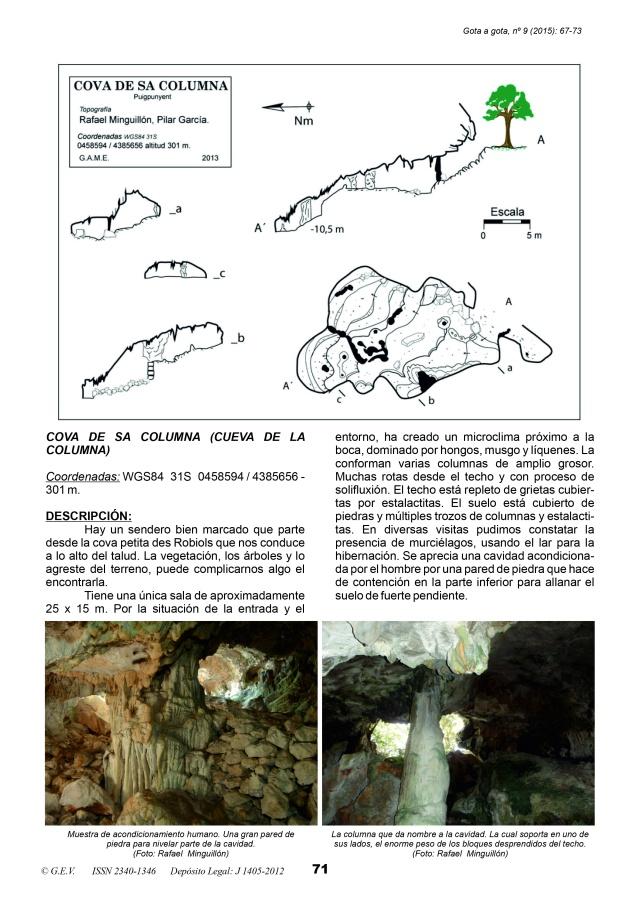Coves des Robiols Publicación Gota a Gota. Autor: Rafael Minguillón