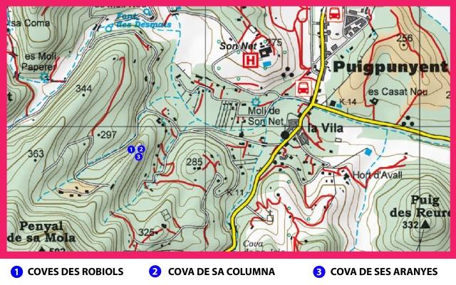 Mapa Loc. coves des Robiols. Rafael Minguillón BTTersMallorca